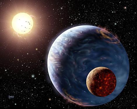 Recreación artística de la Tierra y la luna durante su formación, hace millones de años. | E.M.