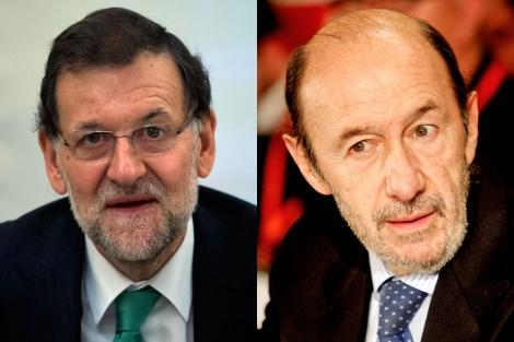 Mariano Rajoy (izda.) y Alfredo Pérez Rubalcaba. | Fotos: Reuters y Jesús Morón