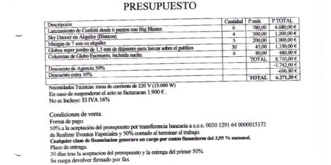 Documento divulgado hoy por la empresa Realizar Eventos Especiales.