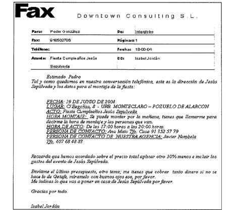 Fax de Dowtown Consulting recogido en el informe de la Udef.