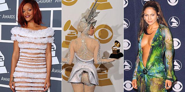 Rihanna, Lady Gaga y Jennifer Lopez, en distintas ediciones de los Grammy. | Gtres