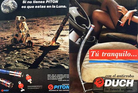 Publicidades antiguas del candado. Una evocando la llegada del hombre a la luna; otra, con reclamo que hoy se consideraría sexista. [AMPLIAR IMAGEN]