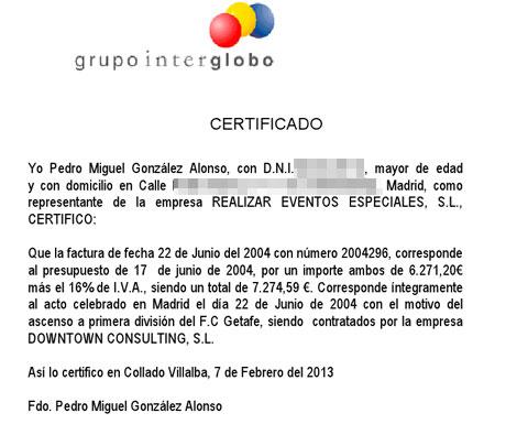 Certificado presentado hoy por Realizar Eventos Especiales.