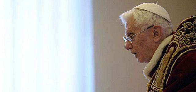 Benedicto XVI, momentos antes de anunciar su renuncia, en Roma. | Afp
