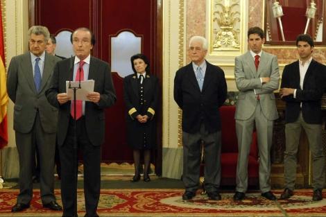Gibert presenta, el pasado mes de marzo, la ILP en el Congreso. | A. Heredia