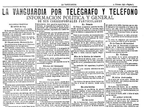Crónica de La Vanguardia el 11 de febrero de 1896.