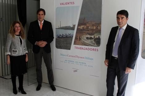 Lourdes Moreno, Damián Caneda y Javier Ferrer, en la presentación de la campaña. | C. Díaz