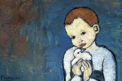 Un detalle del 'Niño con paloma' de Picasso.