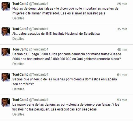 Imagen de los 'tuits' de Toni Cantó