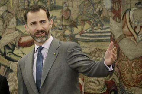 El Príncipe Felipe durante una recepción en el palacio de la Zarzuela. | Efe