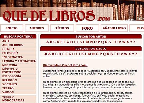 Pantalla de la página web 'Quedelibros.com'.