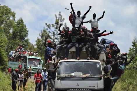 Seguidores de Kenyatta celebran su victoria en Gatunda. | Afp