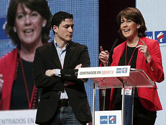 Yolanda Barcina, tras ser reelegida presidenta de UPN. | Jesús Diges / Efe