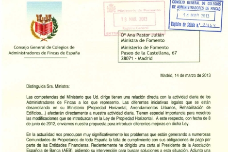 Extracto de una de las cartas enviadas por los administradores de fincas. | E.M.