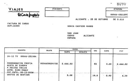 Extracto de la factura incluida en el informe policial