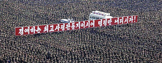 Manifestacin De Apoyo Al Lder Corea Del Norte En Pyongyang