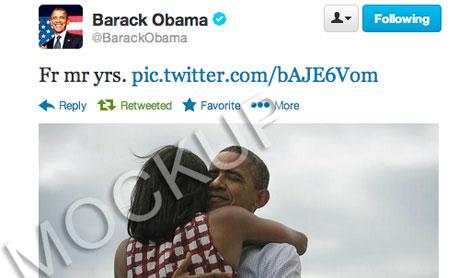 'Tuit' sin vocales del presidente Obama.