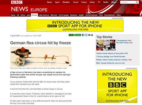 Noticia publicada en la web de la BBC durante el April Fool's Day.