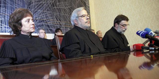 Jueces del Tribunal Constitucional luso durante el anuncio de su resolución. | Efe