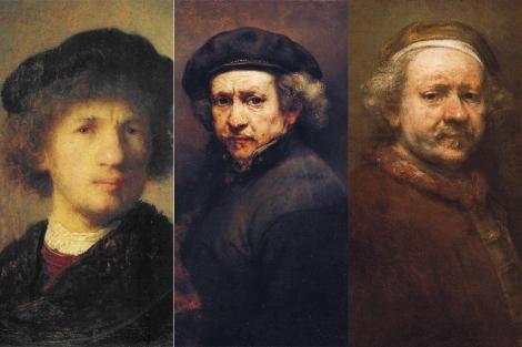 Detalles de tres autorretratos de Rembrandt.