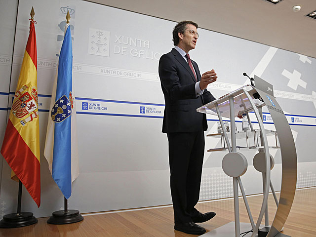 El presidente de la Xunta, Alberto Núñez Feijóo, durante su comparecencia hoy posterior al consejo semanal. | Lavandeira JR/Efe