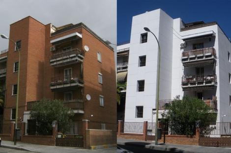 Edificio de ocho viviendas rehabilitado en su fachada en la calle Agastia de Madrid. | E.M.