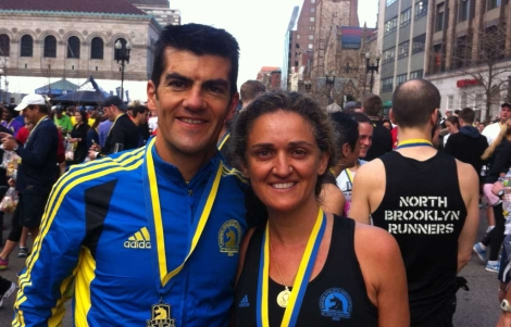 Joan Pere Carbonell y su mujer en Boston la tarde anterior al atentado.