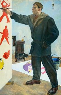 Maiakovski, retratado por Aleksander Deineka.