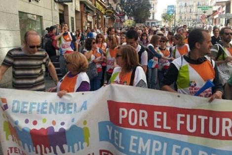 Manifestación este jueves de los trabajadores de Telemadrid en la Puerta del Sol.