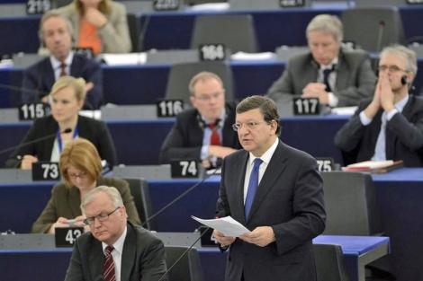 El presidente de la CE, Jose Manuel Durao Barroso, hablando en el Parlamento Europeo. | Efe