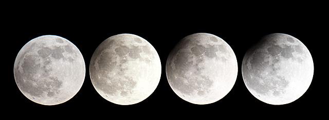 Cuatro imágenes del eclipse de ayer de luna tomadas en Fráncfurt (Alemania). | Efe