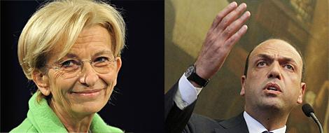 Emma Bonino, Exteriores, y el vicepresidente y ministro del Interior, Angelino Alfano.| Afp/Efe