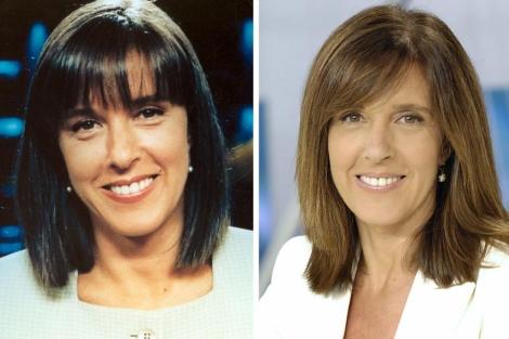 La periodista vasca cuando comenzó a trabajar en TVE en 1991 (i) y en la actualidad (d). | Efe