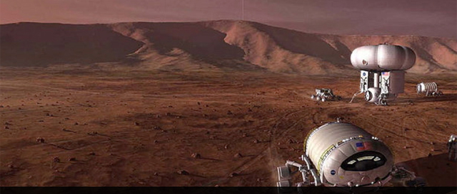 Recreación artística de una futura colonia en Marte. | NASA