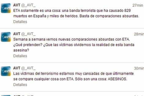Imagen de los tuits de la AVT