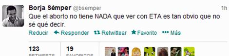 imagen del tuit de Borja Sémper