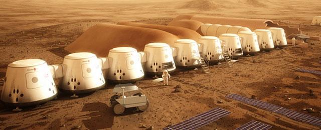 Recreación artística de una futura colonia en Marte.   MARS ONE