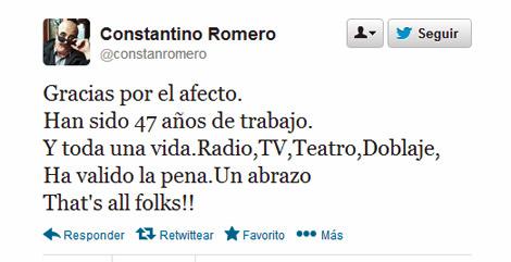 Despedida de Constantino Romero el pasado diciembre en Twitter.