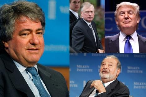 Leon Black (izda.), de Apollo; Dan Quayle y Donald Trump (arriba) y Carlos Slim (abajo).