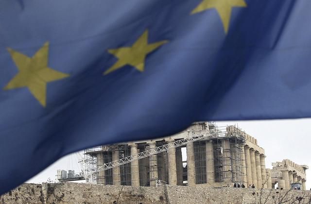 La Acrópolis, con la bandera europea en primer plano. | Efe