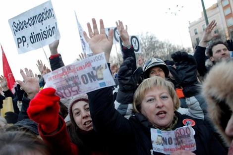 Manifestación contra la corrupción en febrero en Madrid. | A. Heredia