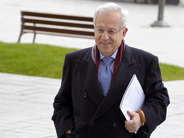 El ex diputado del PP Jaime Ignacio del Burgo antes de declarar desde Pamplona. | Efe