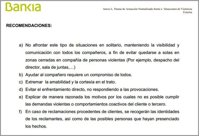 Fragmento del protocolo de actuación ante violencia externa en Bankia.