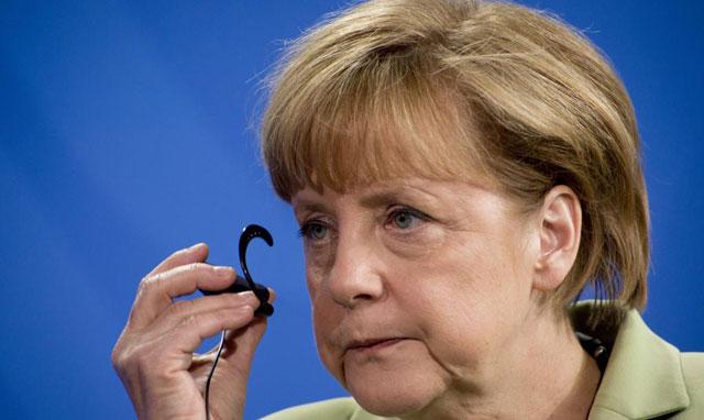 La jefe de Gobierno de Alemania, Angela Merkel, hoy en Cancillería. | Afp