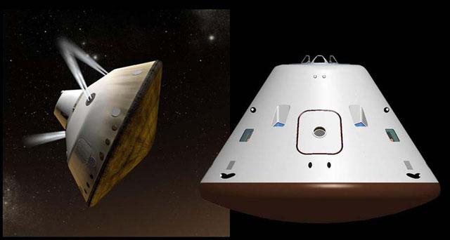 La nave MSL en la que viajó 'Curiosity' (i) y la cápsula Orión (d), la próxima nave tripulada de la NASA.
