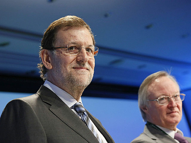 Mariano Rajoy y Josep Piqué, durante la clausura de la XXIX Reunión del Círculo de Economía | Susanna Sáez / Efe