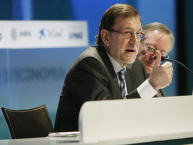 El presidente Mariano Rajoy, durante su intervención ante los empresarios. | Efe