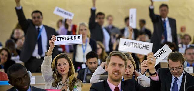 Delegados en el Consejo de los Derechos Humanos de la ONU en Ginebra. | Afp