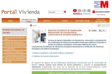 Espacio habilitado por la Comunidad de Madrid en su web para registar el certificado.