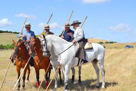 Ernesto Campos Peña, Rafaelín, Antonio Miura e Ignacio Sánchez Ibargüen antes de la faena.